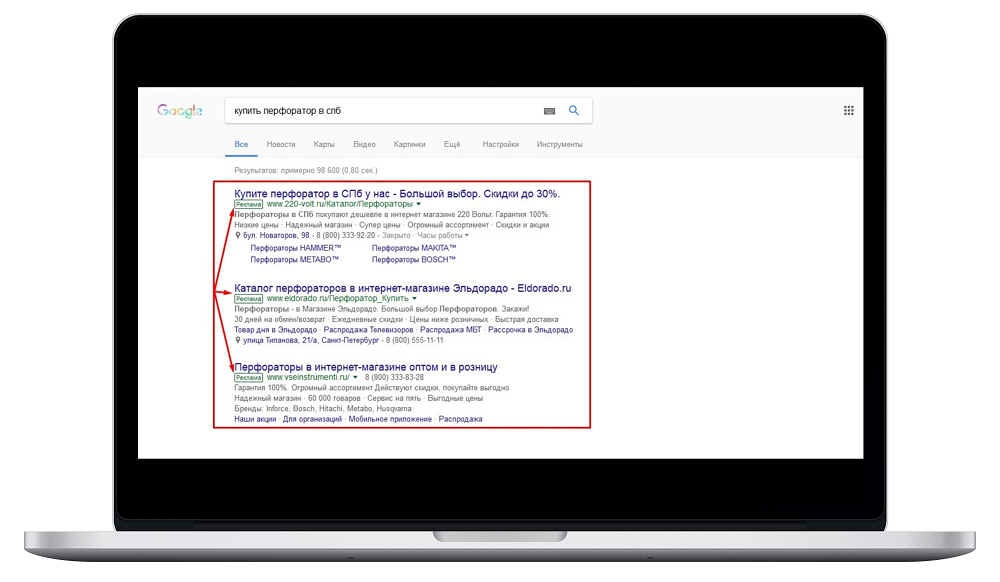 Контекстная реклама google adwords на поиске